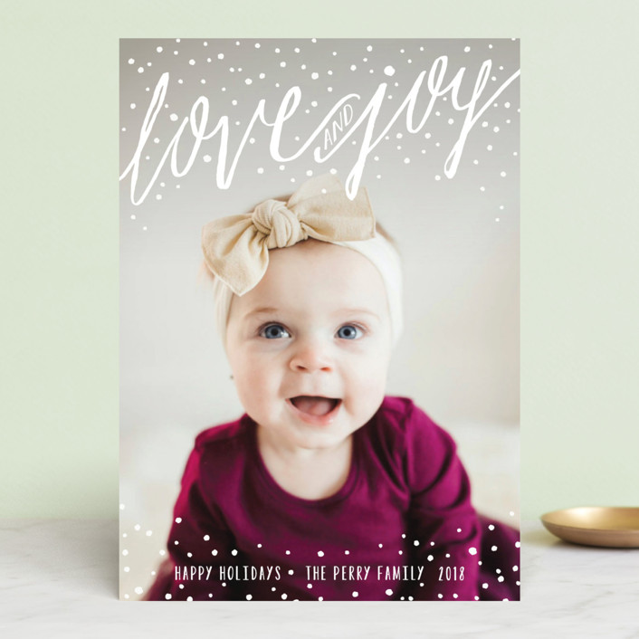 """Snowy Love and Joy"" - Christmas Photo Cards in Snow by Melanie Severin."