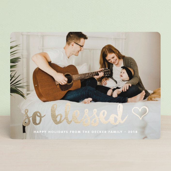 """So Blessed Love Full Bleed"" - Christmas Photo Cards in Snowfall by Waui Design."