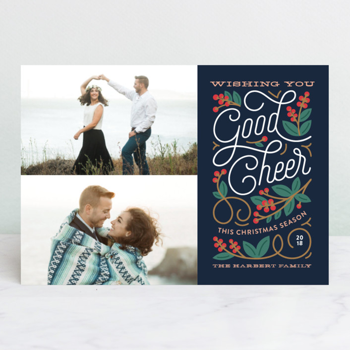 """Winterberry"" - Christmas Photo Cards in Navy by Genna Cowsert."