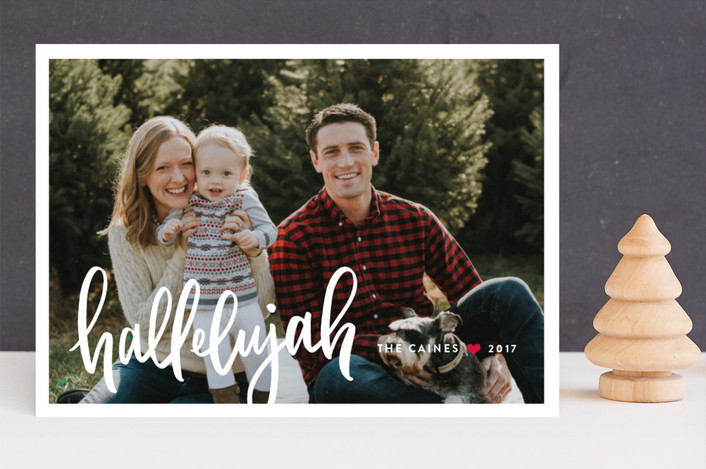 """Simply Hallelujah"" - Christmas Photo Cards in Poinsettia by Up Up Creative."