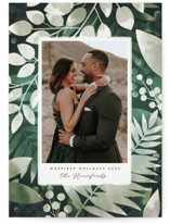 This is a green photo christmas card by Snow and Ivy called Moody Greens with standard printing on smooth signature in standard.