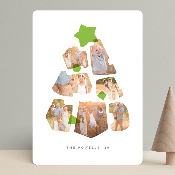 """Shapes Tree"" - Modern Christmas Photo Cards in Lime by JeAnna Casper."