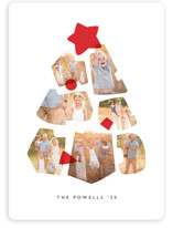 This is a red photo christmas card by JeAnna Casper called Shapes Tree with standard printing on smooth signature in standard.