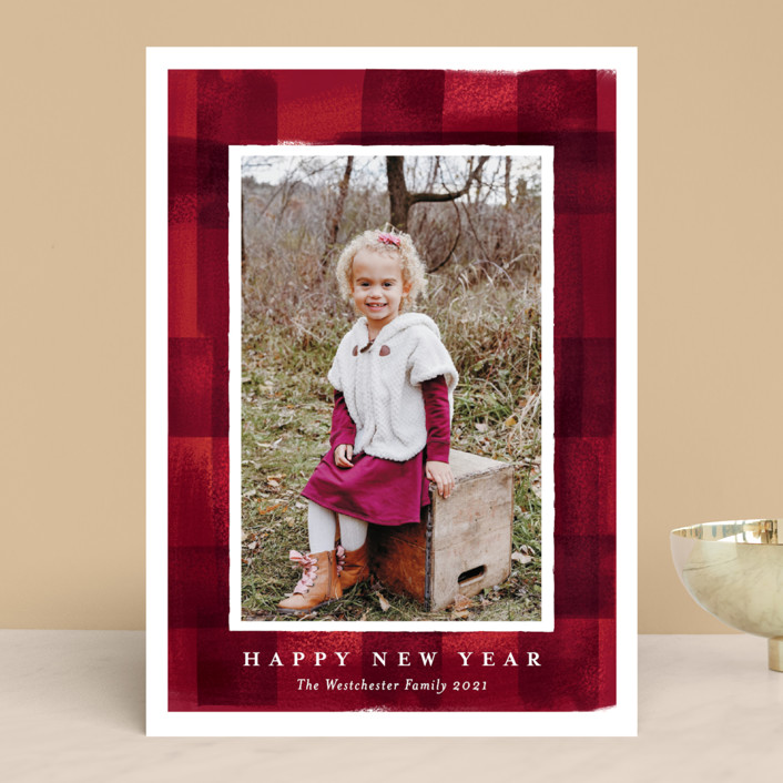 """buffalo check frame"" - Christmas Photo Cards in Poinsettia by Rebecca Durflinger."