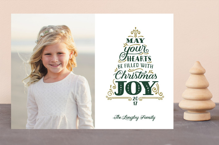 """Joyful Tree"" - Vintage Christmas Photo Cards in Pine by Sarah Guse Brown."