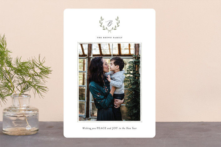 """Delicate Wreath"" - Christmas Photo Cards in Sage by Design Lotus."