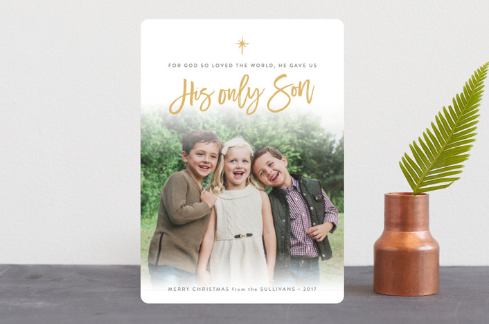 """John 3:16"" - Christmas Photo Cards in Butterscotch by Sarah Curry."