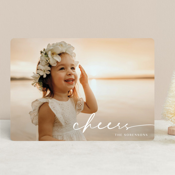 """Believe Script"" - Christmas Photo Cards in Snow by GeekInk Design."