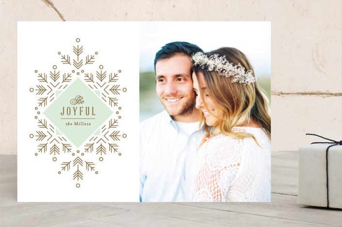 """Simple Snowfall"" - Classical, Elegant Christmas Photo Cards in Mint by Jennifer Postorino."