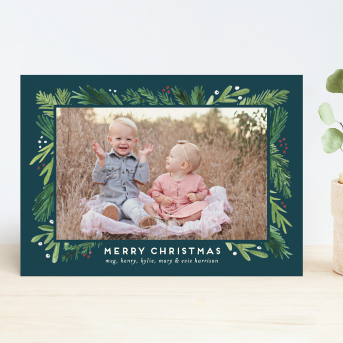 """Branches Framed"" - Christmas Photo Cards in Juniper by Amy Kross."