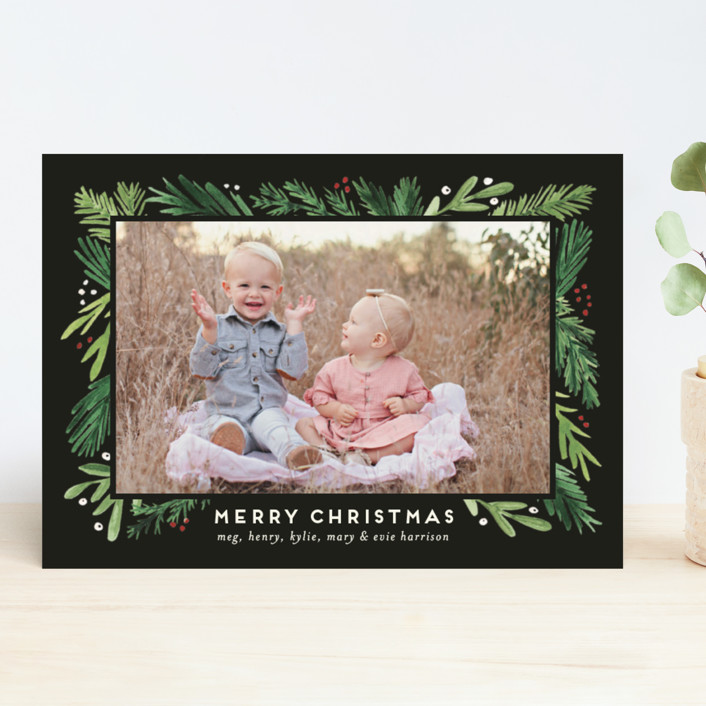 """""""Branches Framed"""" - Christmas Photo Cards in Juniper by Amy Kross."""