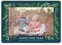 This is a blue photo christmas card by Amy Kross called Branches Framed with standard printing on smooth signature in standard.