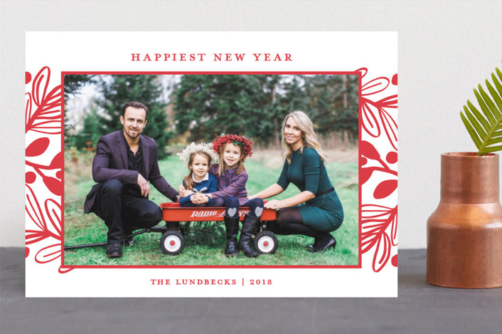 """Fun Botanical Frame"" - Christmas Photo Cards in Cherry by Paper Dahlia."
