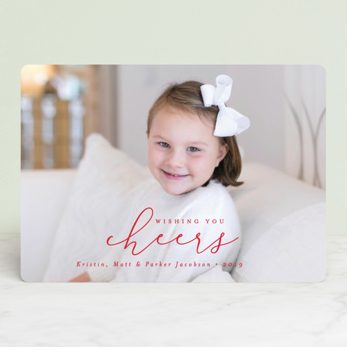 """""""Simply Christmas"""" - Christmas Photo Cards in Berry by peony papeterie."""