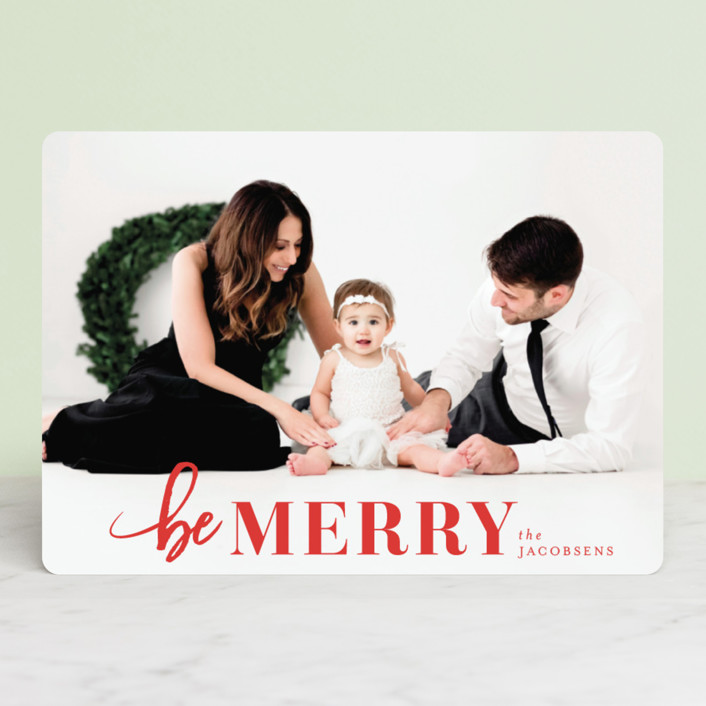 """""""Merriest Holiday"""" - Christmas Photo Cards in Berry by Shirley Lin Schneider."""