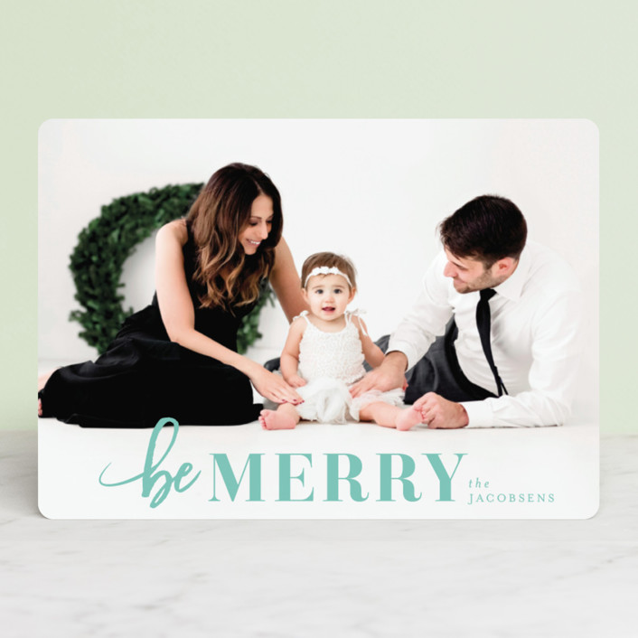 """""""Merriest Holiday"""" - Christmas Photo Cards in Snow by Shirley Lin Schneider."""