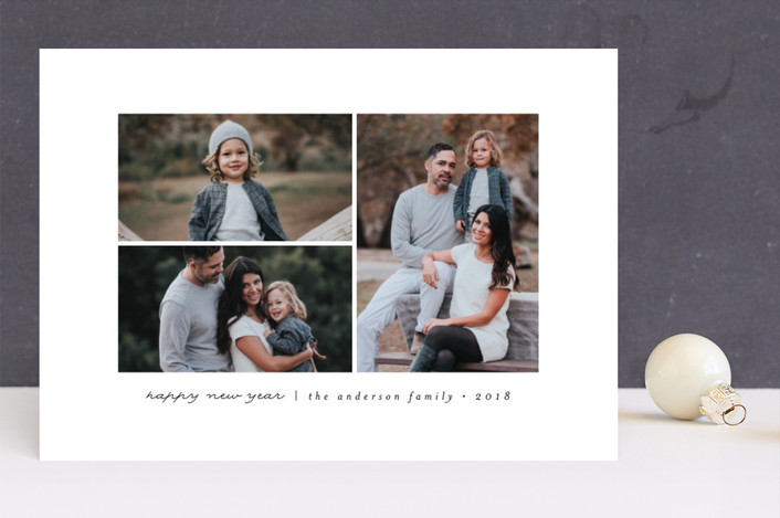 """Modern & Minimal"" - Christmas Photo Cards in Licorice by peony papeterie."