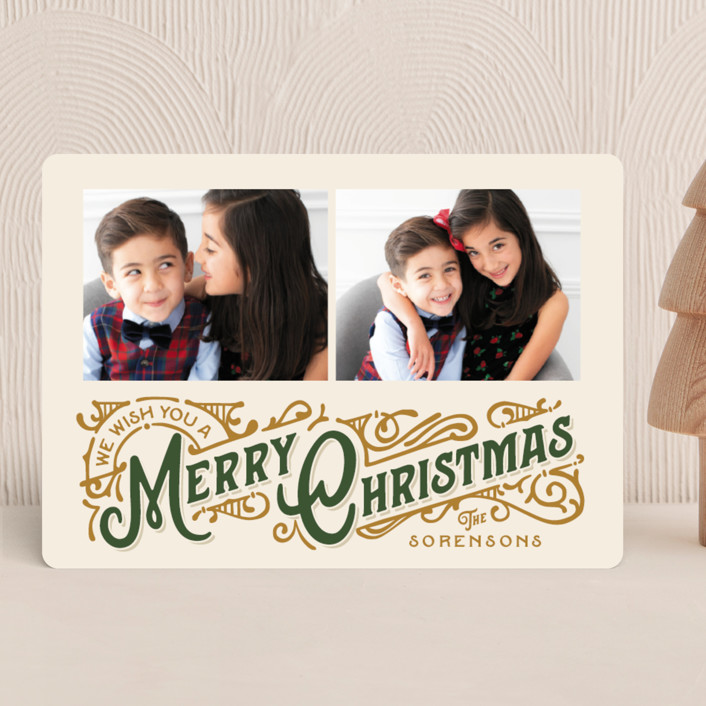 """""""Christmas Poster"""" - Vintage Christmas Photo Cards in Evergreen by GeekInk Design."""