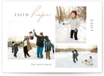 This is a white photo christmas card by Cass Loh called Faith Hope Love with standard printing on pearlescent in standard.