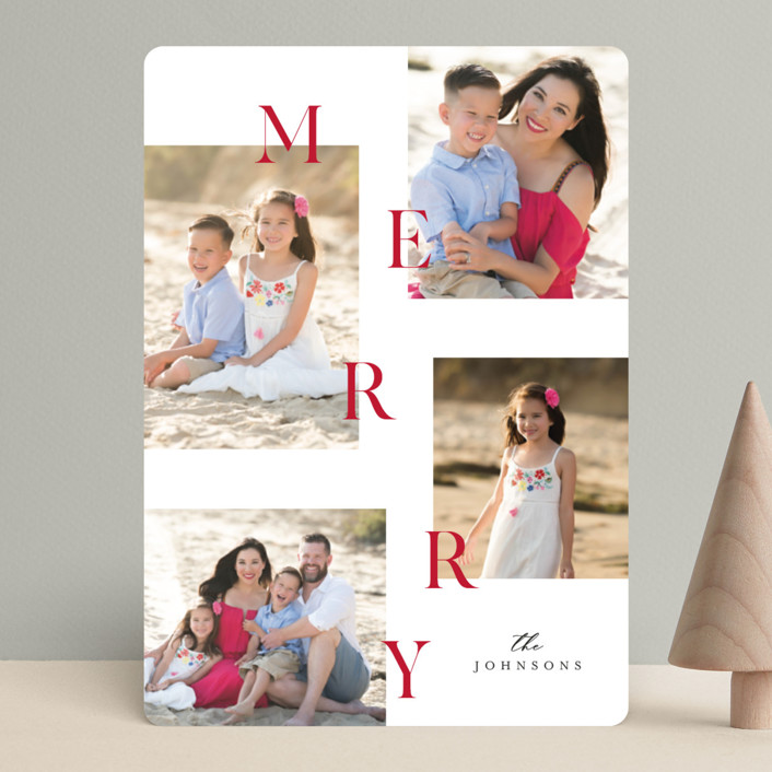 """Merry all the way"" - Christmas Photo Cards in Cherry by Pixel and Hank."