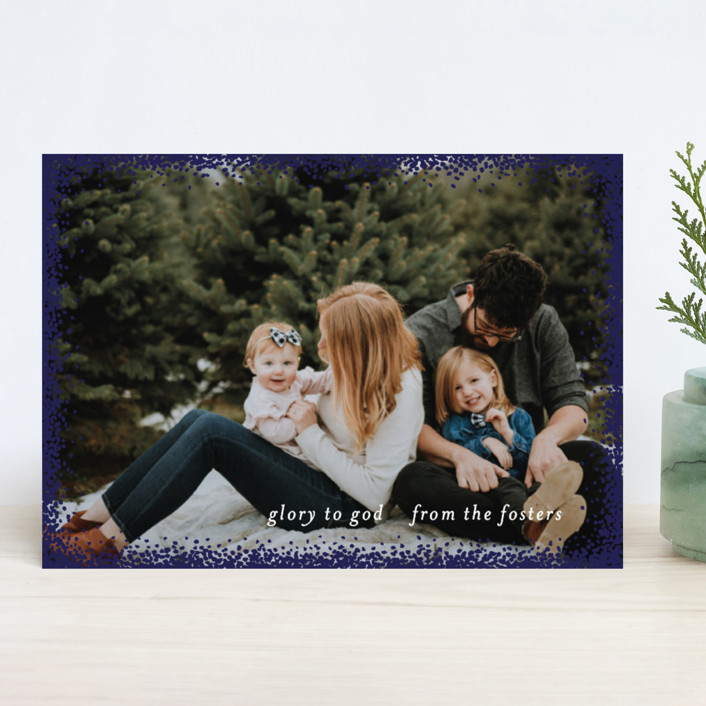 """""""Holiday Frame"""" - Christmas Photo Cards in Gold by Julia Hall."""