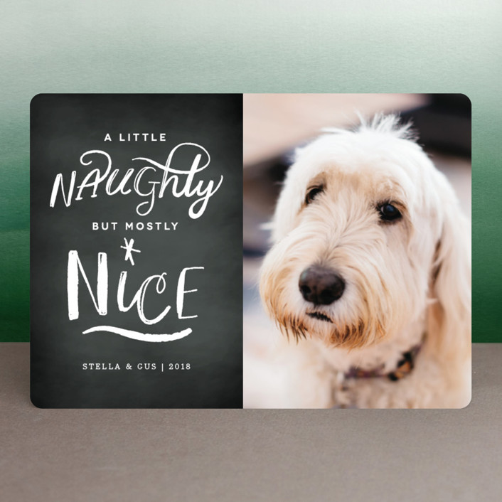 """A Little Naughty"" - Funny Christmas Photo Cards in Chalk by Kelly Nasuta."