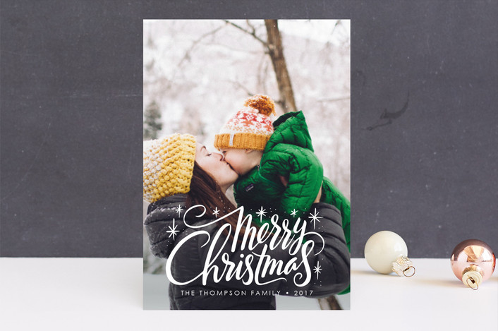"""Merry Burst"" - Editor's Picks Christmas Photo Cards in Snow by Jamie Schultz Designs."