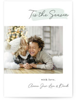 This is a blue photo christmas card by LWK Designs called Tis the Season Signature with standard printing on smooth signature in standard.