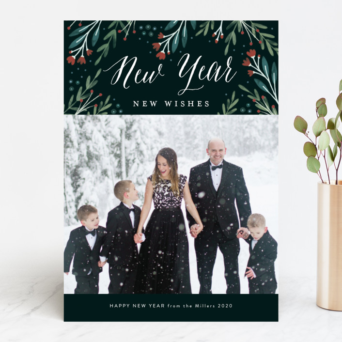 """""""Floral Wonder"""" - Christmas Photo Cards in Navy by Kelly Nasuta."""