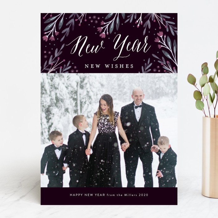 """Floral Wonder"" - Christmas Photo Cards in Navy by Kelly Nasuta."