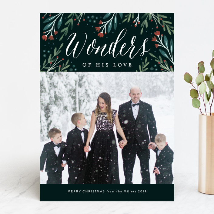 """Floral Wonder"" - Christmas Photo Cards in Pine by Kelly Nasuta."