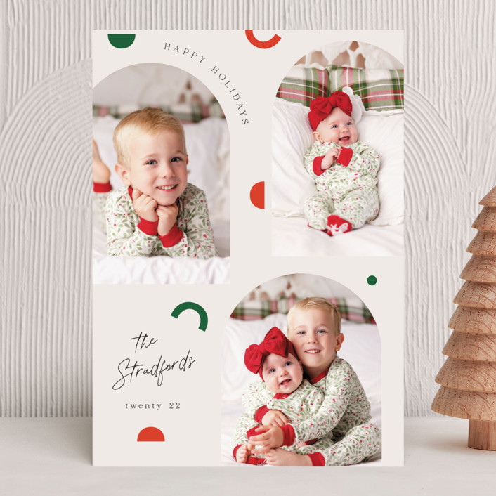 """""""Modern Shapes"""" - Modern Christmas Photo Cards in Snow by Elly."""