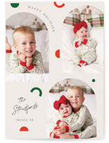This is a white photo christmas card by Elly called Modern Shapes with standard printing on pearlescent in standard.