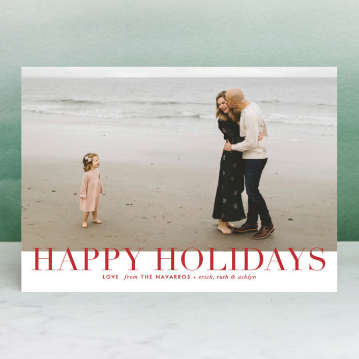 """Epic Holidays"" - Christmas Photo Cards in Crimson by Alston Wise."