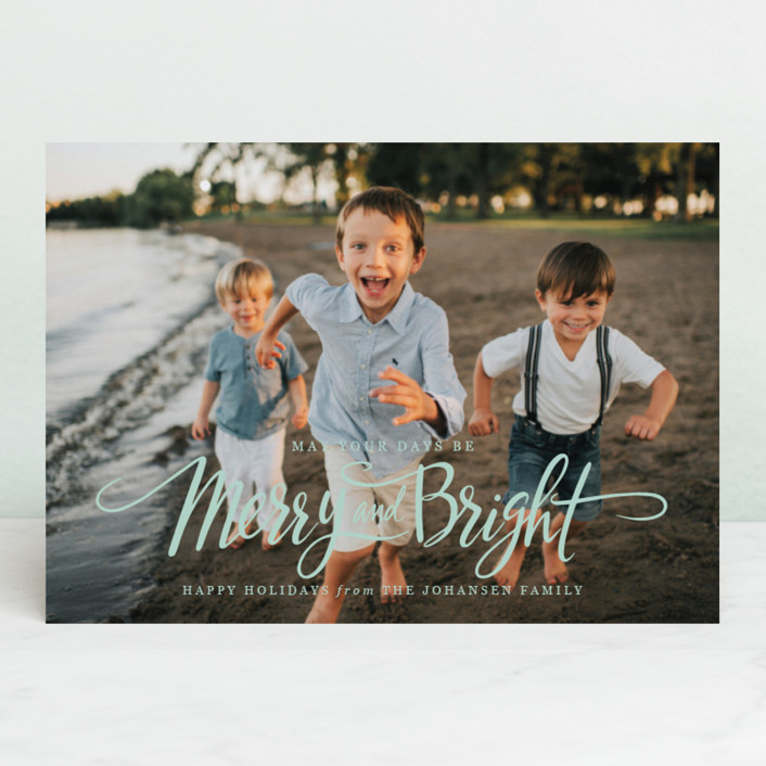 """Script Merry and Bright"" - Christmas Photo Cards in Snow by Jamie Schultz Designs."