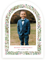 This is a green photo christmas card by Mansi Verma called Arched Florals with standard printing on signature in standard.