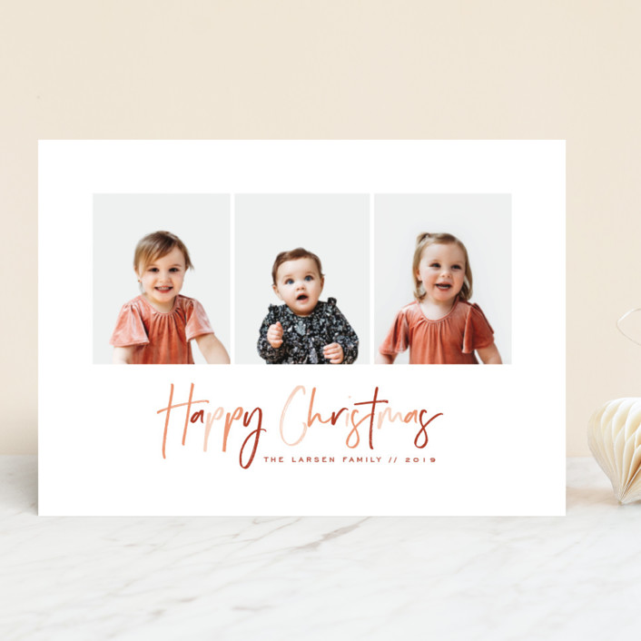 """""""Cheerful Happy"""" - Christmas Photo Cards in Rose by peony papeterie."""