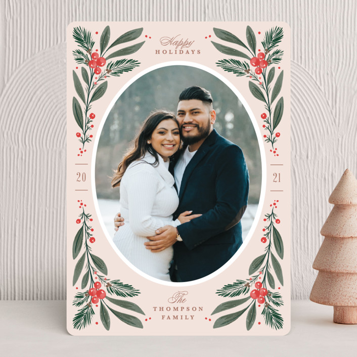 """""""Winter Pines"""" - Vintage Christmas Photo Cards in Blush by Kristen Smith."""