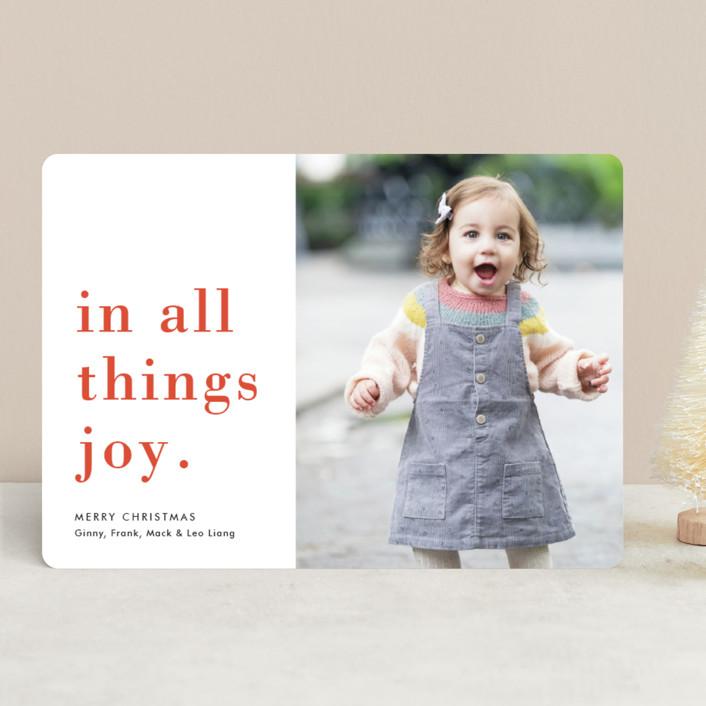 """Joy Always"" - Christmas Photo Cards in Snow by Amy Kross."