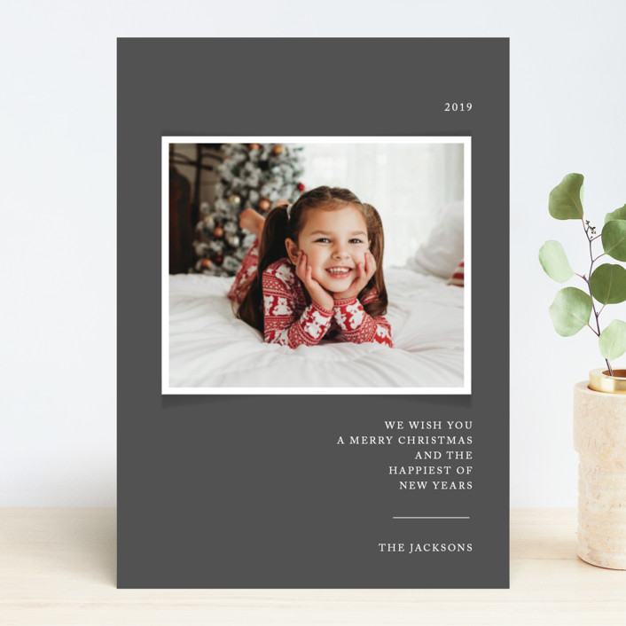 """""""Simplicity"""" - Christmas Photo Cards in Coal by That Girl Press."""