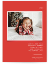 This is a red photo christmas card by That Girl Press called Simplicity with standard printing on smooth signature in standard.