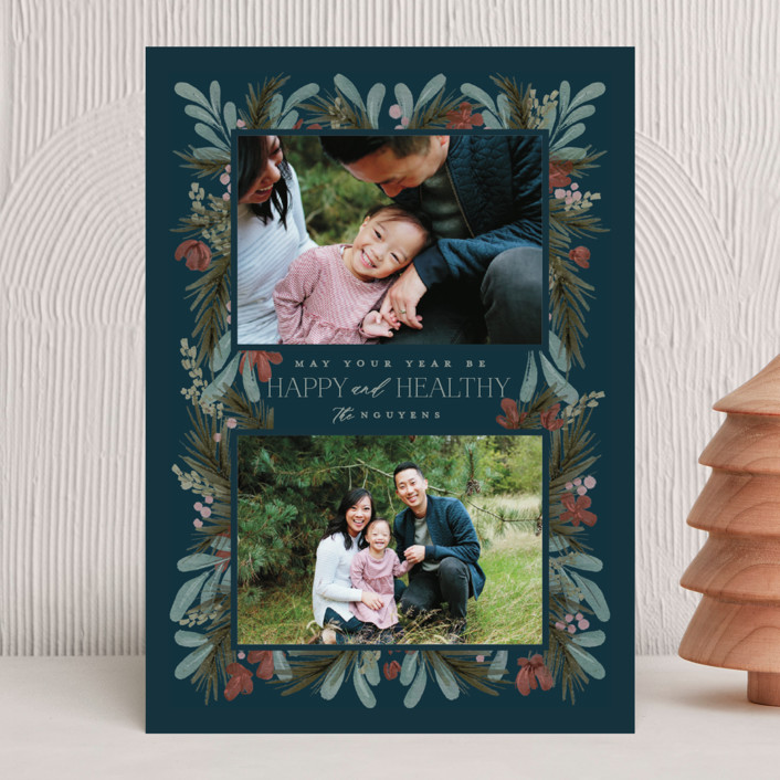 """""""Rustic Floral"""" - Christmas Photo Cards in Night by Calluna Fine Paper."""