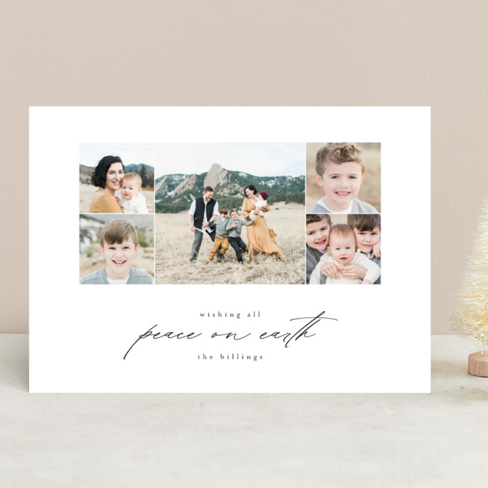 """Season Serenity"" - Christmas Photo Cards in Licorice by Amy Kross."