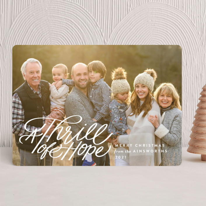 """Hope Script"" - Bohemian Christmas Photo Cards in Snowdrift by Jill Means."