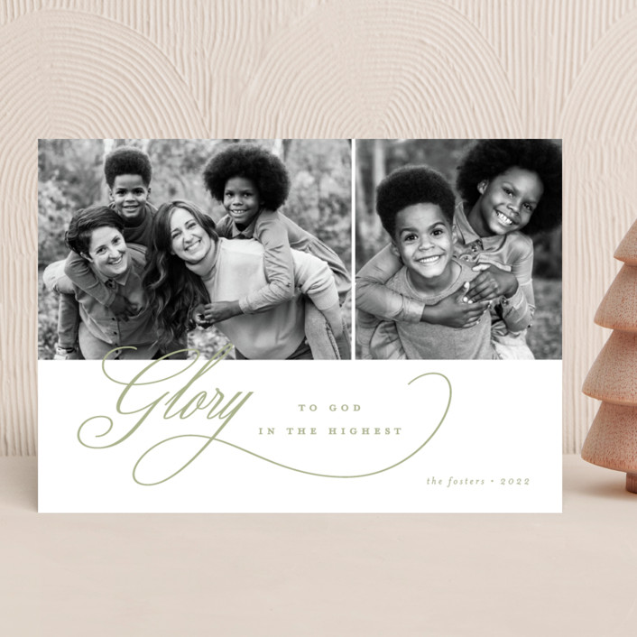 """""""Elegant Glory"""" - Christmas Photo Cards in Sage by Brianne Larsen."""
