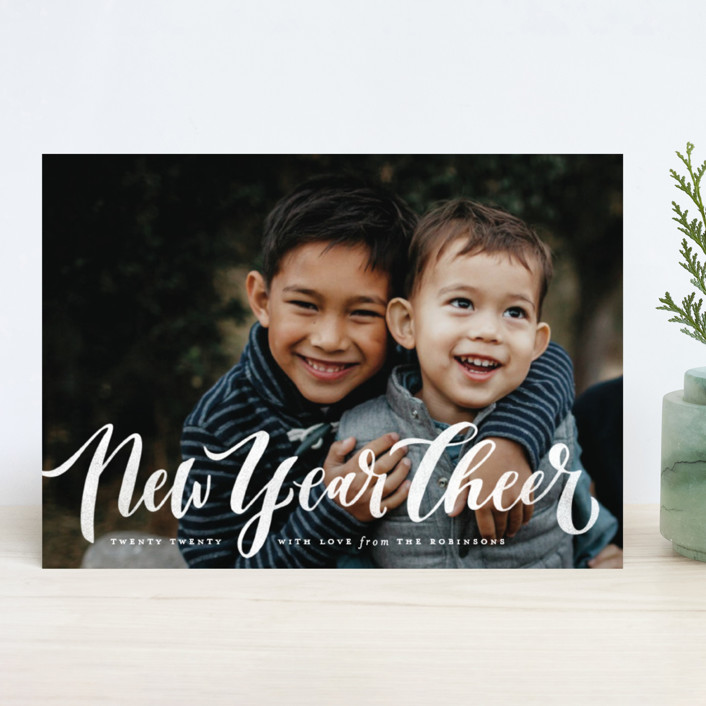 """Wonderfully Merry"" - Christmas Photo Cards in Snow Berries by Wildfield Paper Co.."