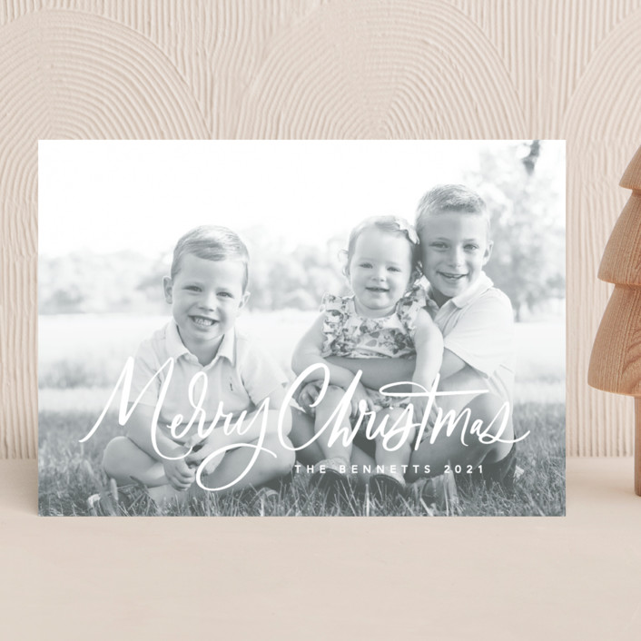 """""""Textured Script"""" - Christmas Photo Cards in Snow by Kristen Smith."""