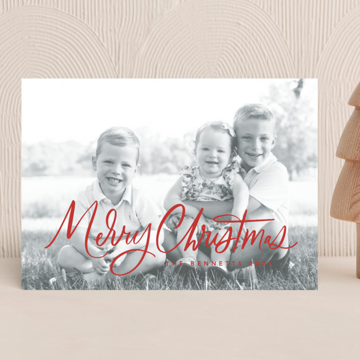 """""""Textured Script"""" - Christmas Photo Cards in Berry by Kristen Smith."""