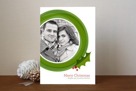 Modern Wreath Christmas Photo Cards