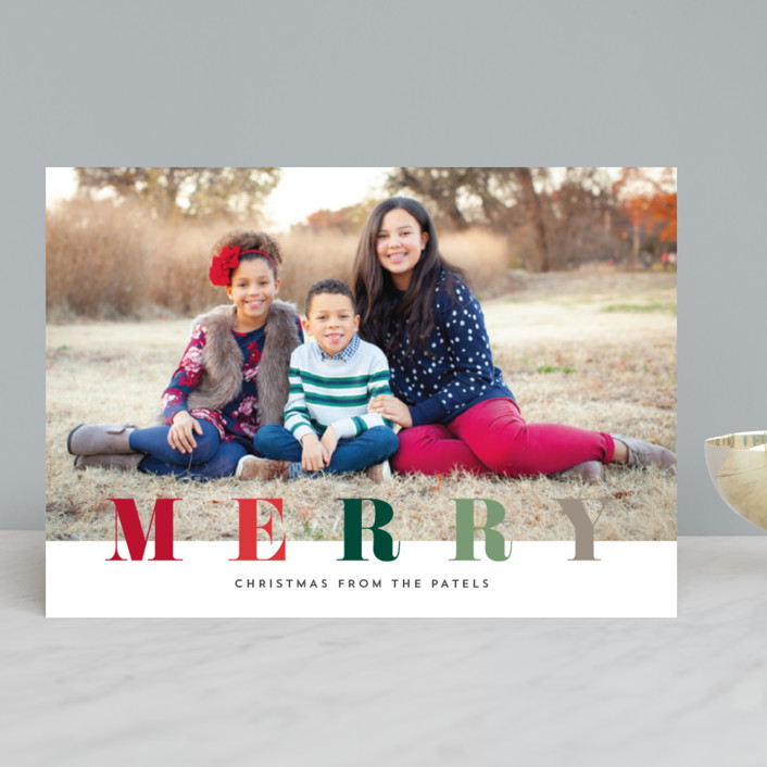 """""""multi merry"""" - Christmas Photo Cards in Puddle by Stacey Meacham."""